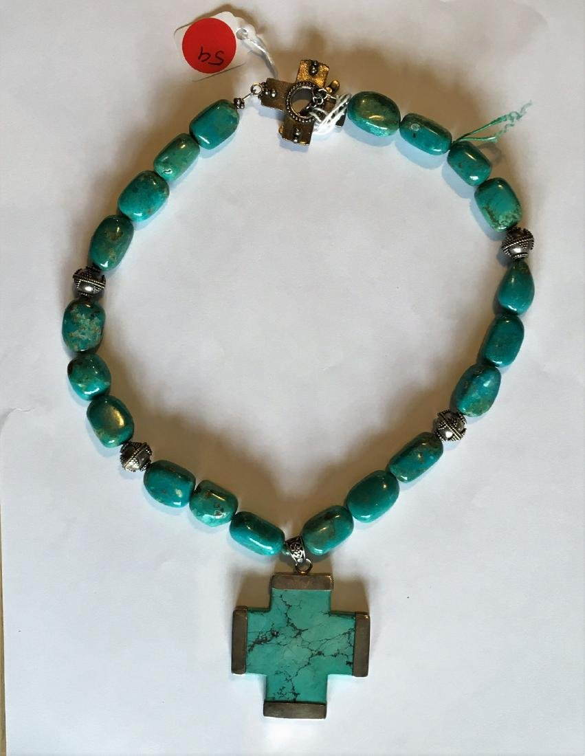 STERLING SILVER AND TURQUOISE CROSS ON A TURQUOISE - 2