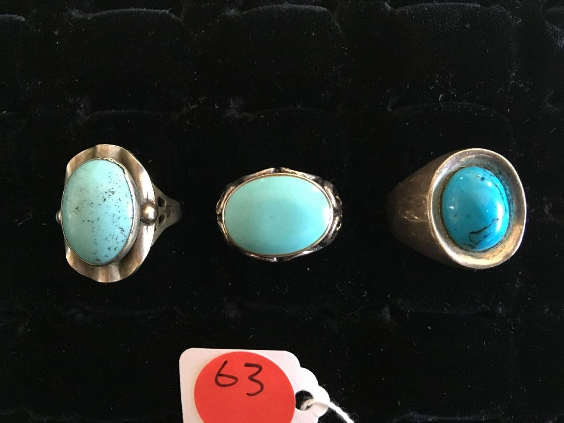3  NATIVE AMERICAN STERLING AND TURQUOISE RINGS
