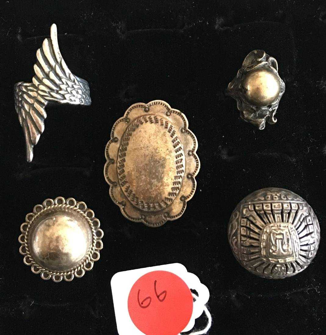 5 STERLING SILVER NATIVE AMERICAN RINGS