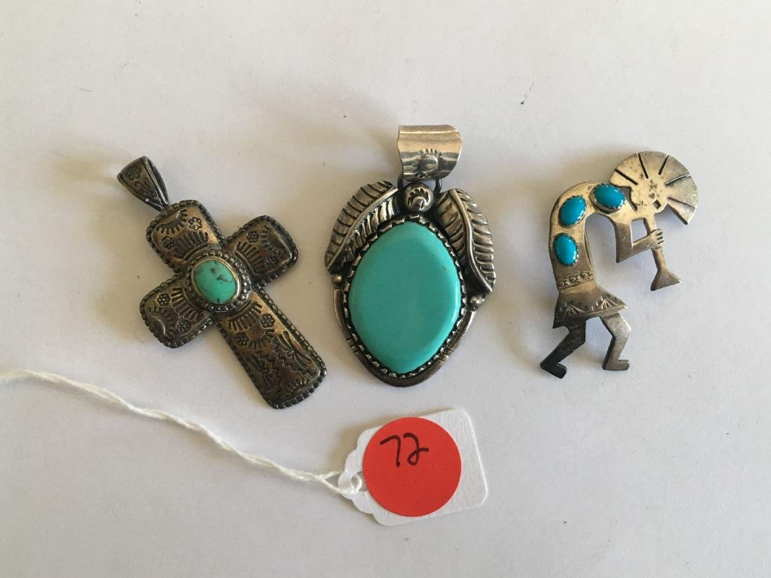 3 PIECES STERLING SILVER AND TURQUOISE JEWELRY, ZUNI,