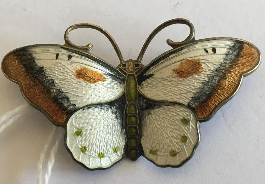 SIGNED NORWAY STERLING SILVER ENAMELED BUTTERFLY PIN