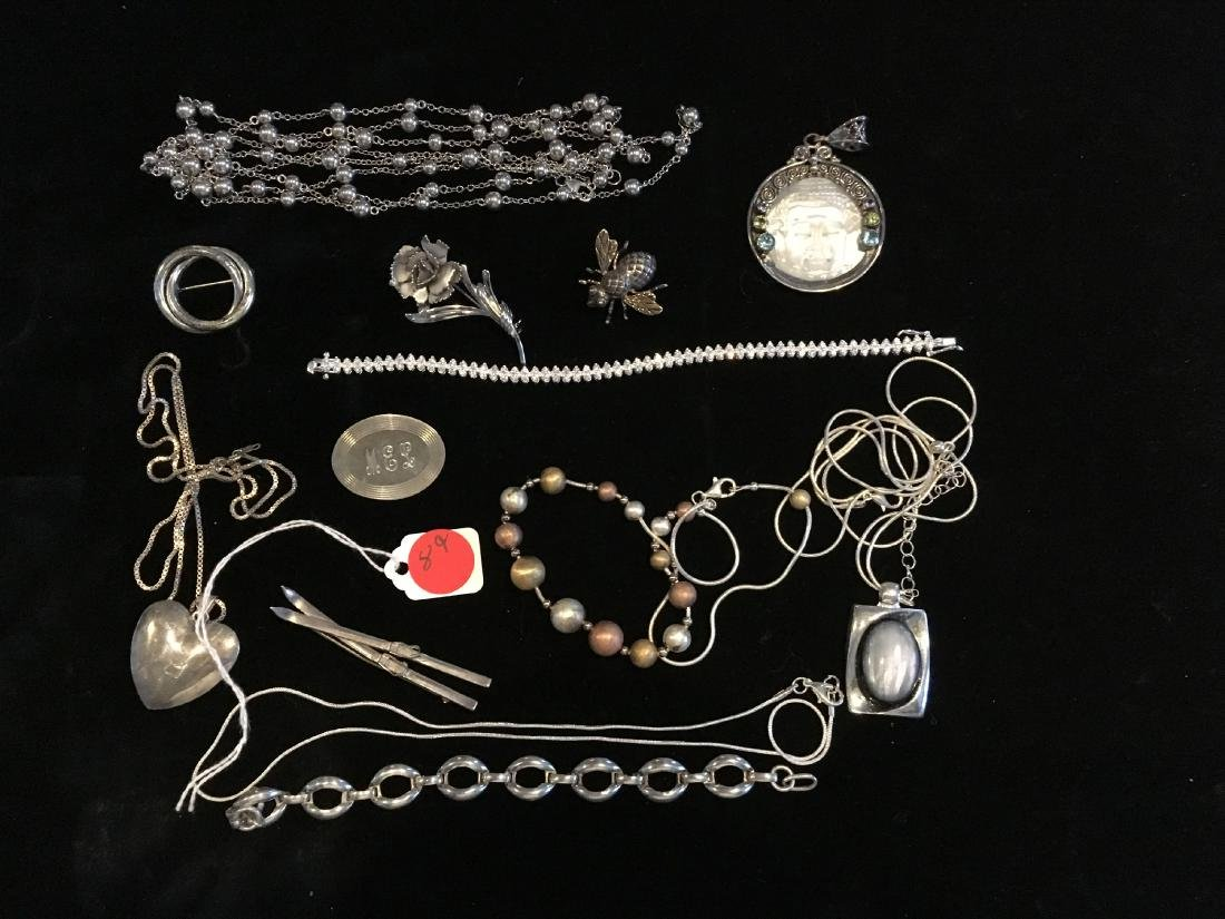LARGE LOT OF VINTAGE MOSTLY STERLING SILVER JEWELRY