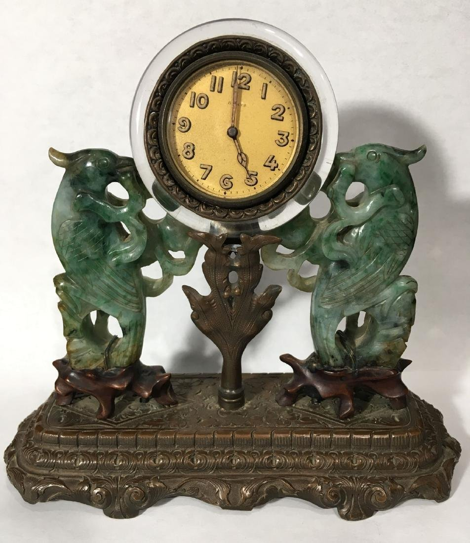 19TH C. ART NOUVEAU SPINACH JADE MOUNTED SWISS CLOCK