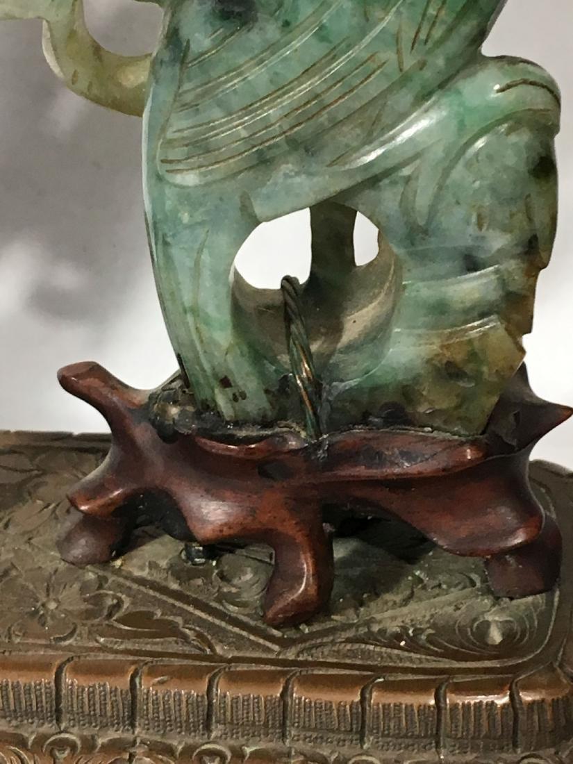 19TH C. ART NOUVEAU SPINACH JADE MOUNTED SWISS CLOCK - 3
