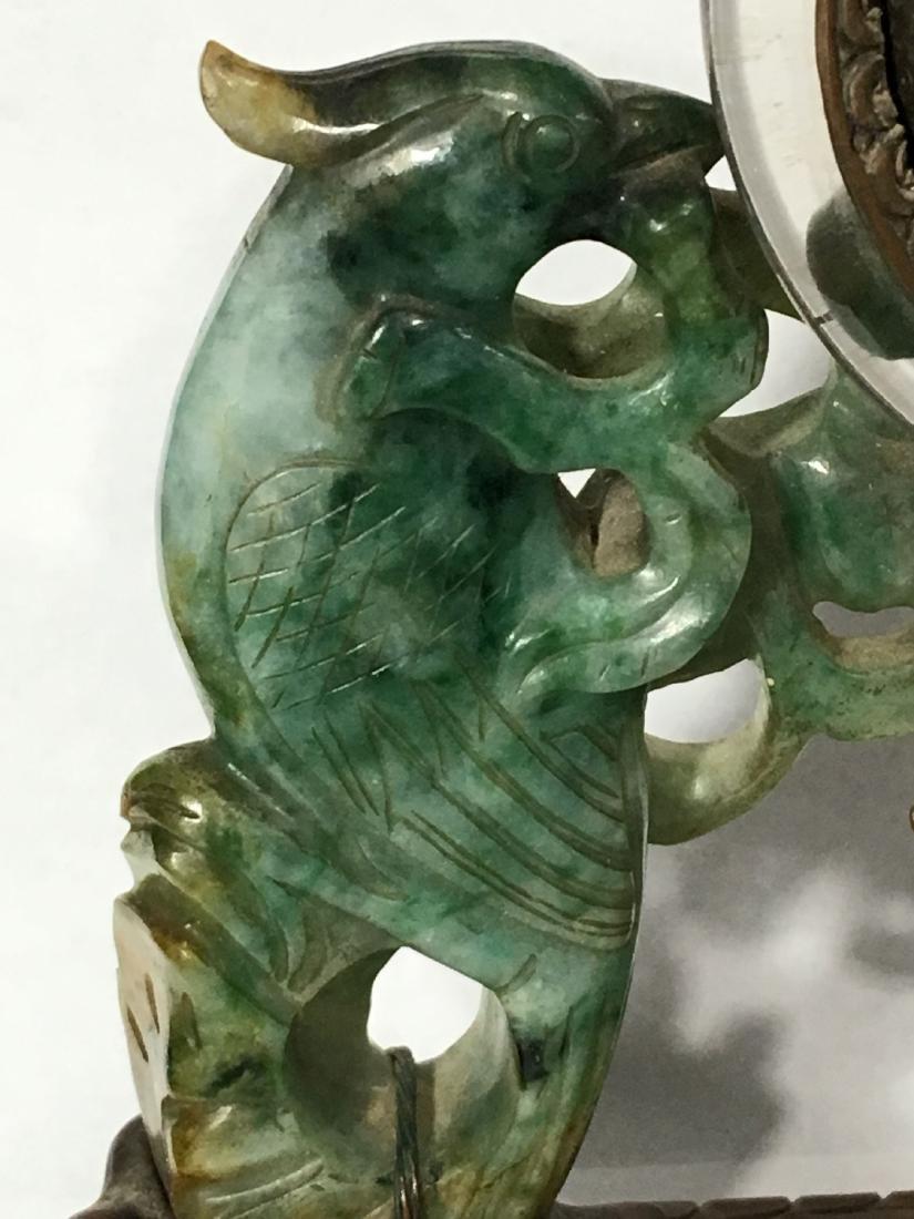 19TH C. ART NOUVEAU SPINACH JADE MOUNTED SWISS CLOCK - 5