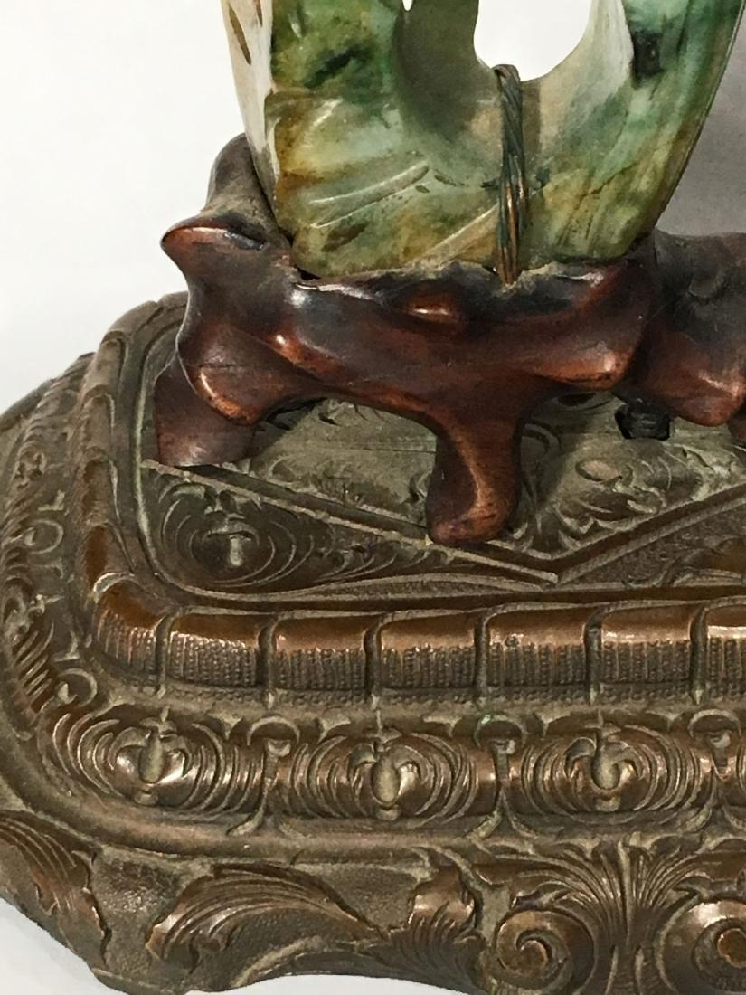 19TH C. ART NOUVEAU SPINACH JADE MOUNTED SWISS CLOCK - 6