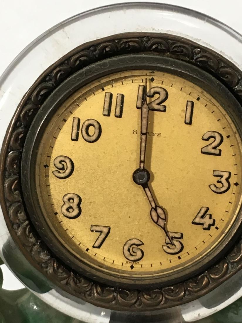 19TH C. ART NOUVEAU SPINACH JADE MOUNTED SWISS CLOCK - 7