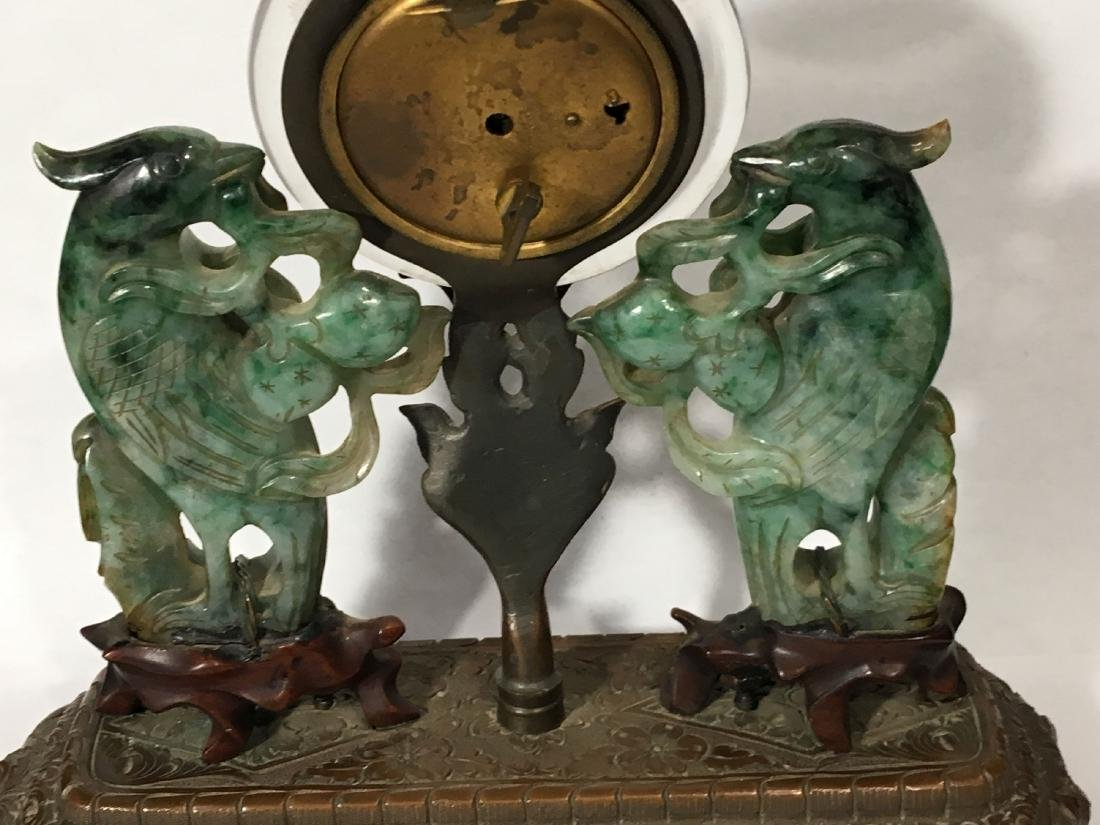 19TH C. ART NOUVEAU SPINACH JADE MOUNTED SWISS CLOCK - 8
