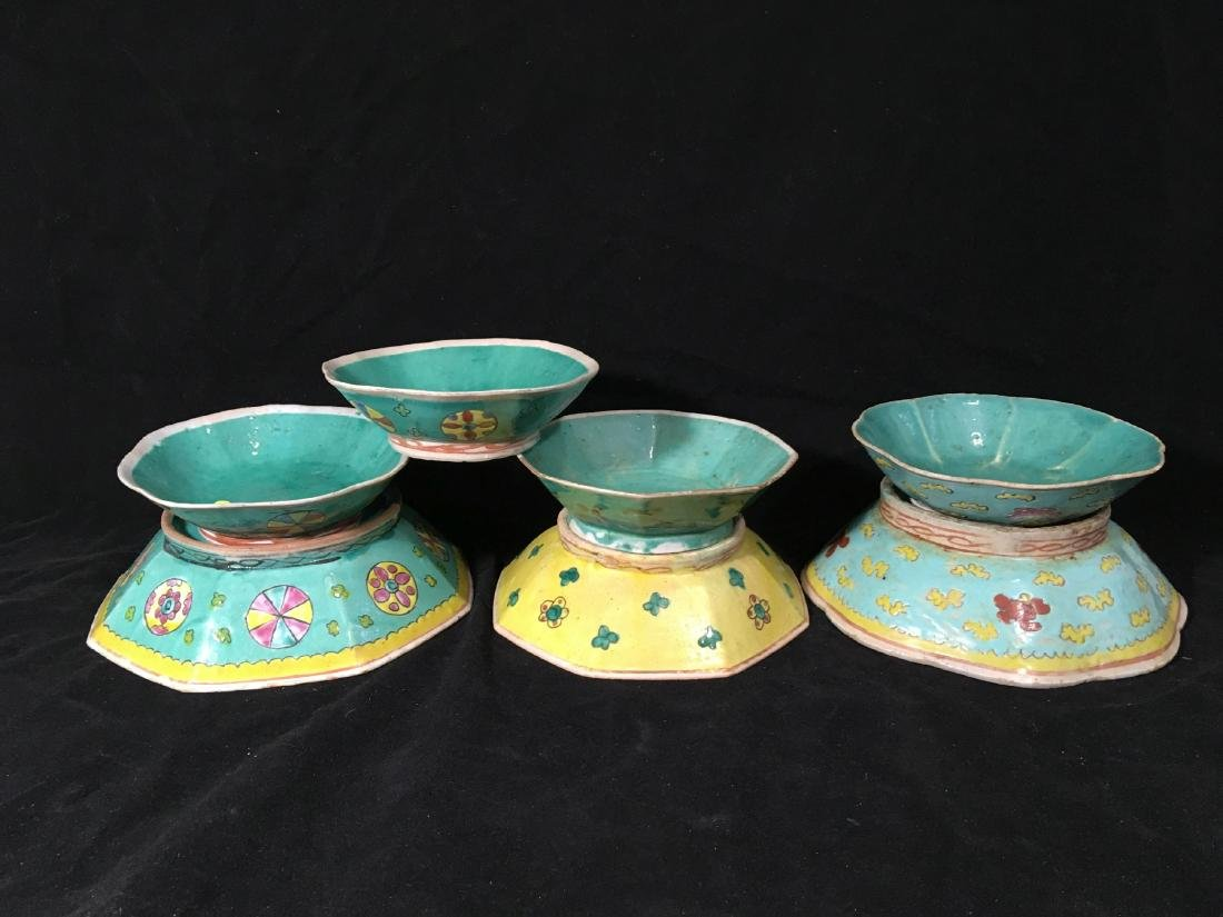 7 EARLY CHINESE EXPORT FAMILLE ROSE BOWLS . MUSEUM
