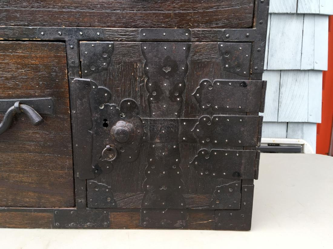 ANTIQUE BRASS BOUND CHINESE CHEST ON CHEST,  MUSEUM - 3