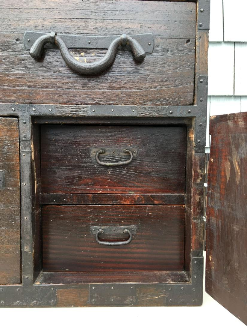 ANTIQUE BRASS BOUND CHINESE CHEST ON CHEST,  MUSEUM - 4