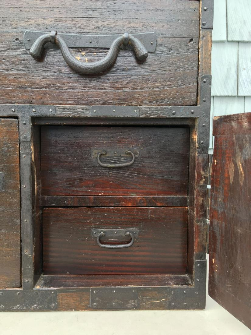 ANTIQUE BRASS BOUND CHINESE CHEST ON CHEST,  MUSEUM - 5