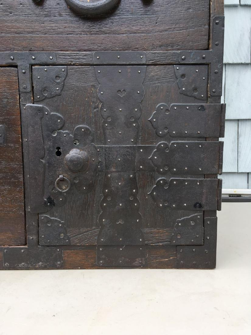 ANTIQUE BRASS BOUND CHINESE CHEST ON CHEST,  MUSEUM - 6