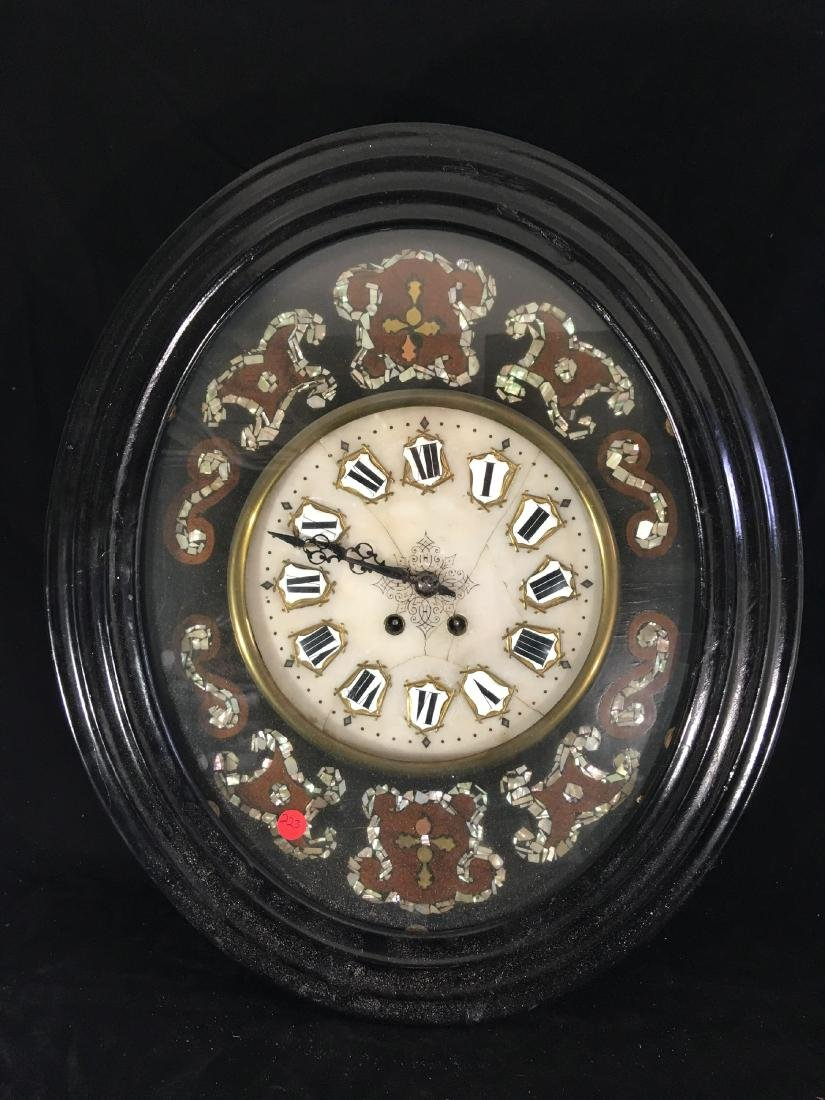 MOTHER OF PEARL INLAID WALL CLOCK WITH MARBLE DIAL