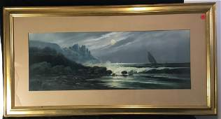 COASTAL SCENE IN MOONLIGHT WITH SHIP SIGNED PASTEL BY