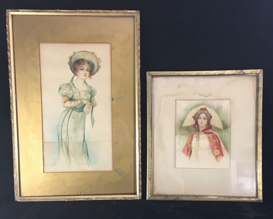 2 ANTIQUE  WATERCOLORS OF WOMEN, ONE AFTER GIBSON