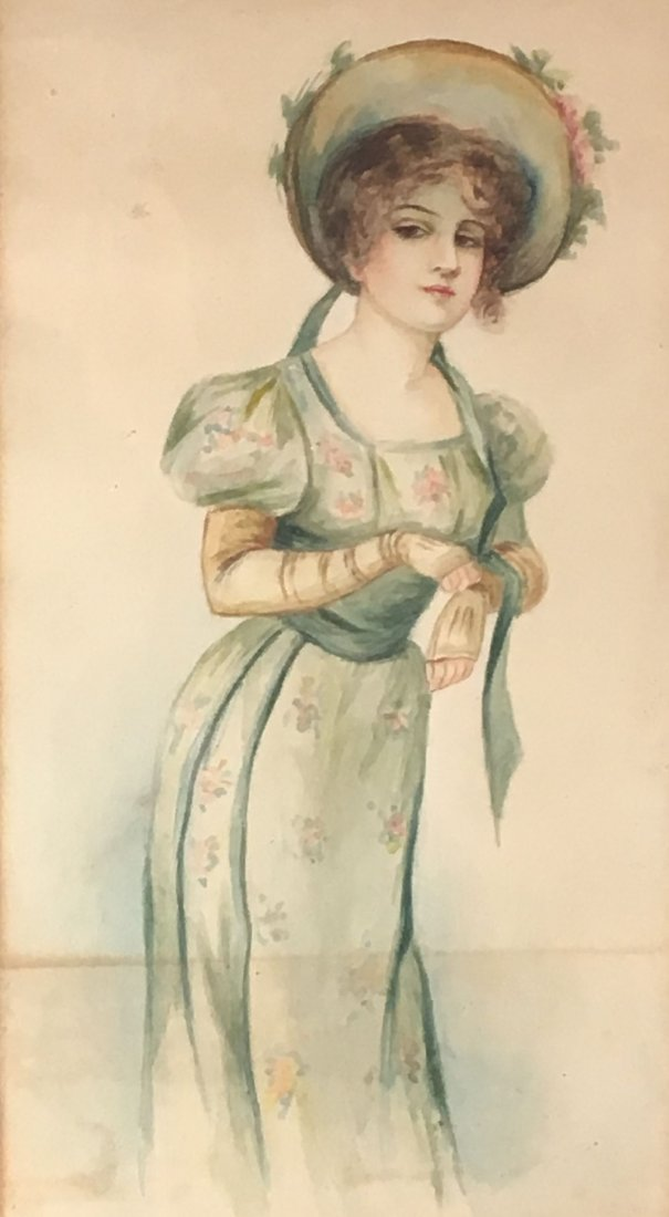 2 ANTIQUE  WATERCOLORS OF WOMEN, ONE AFTER GIBSON - 2