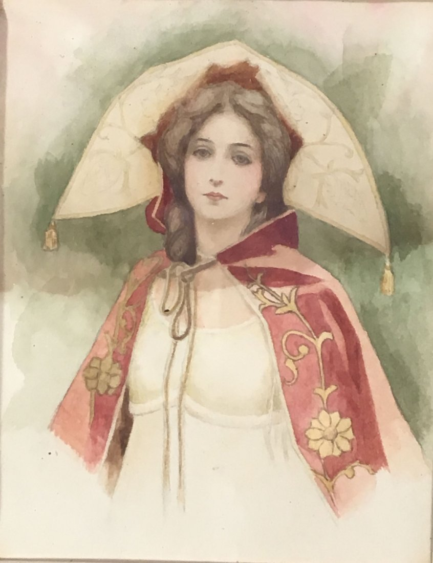 2 ANTIQUE  WATERCOLORS OF WOMEN, ONE AFTER GIBSON - 3