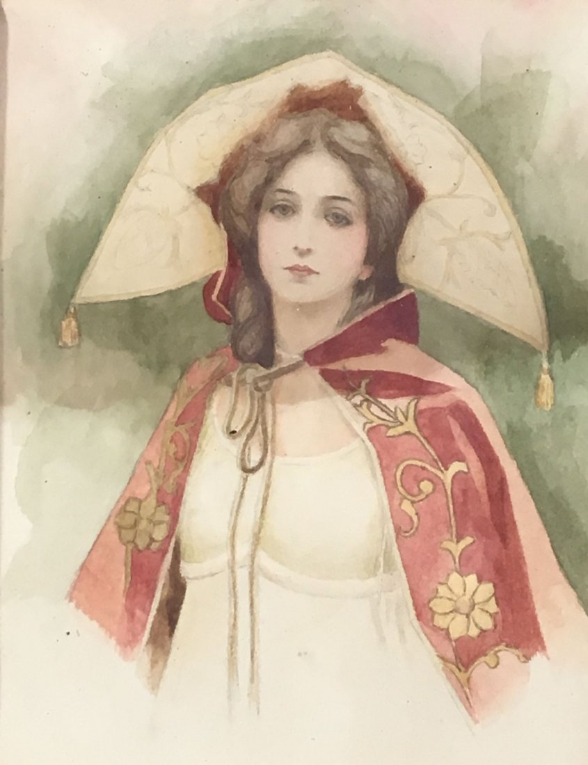 2 ANTIQUE  WATERCOLORS OF WOMEN, ONE AFTER GIBSON - 4