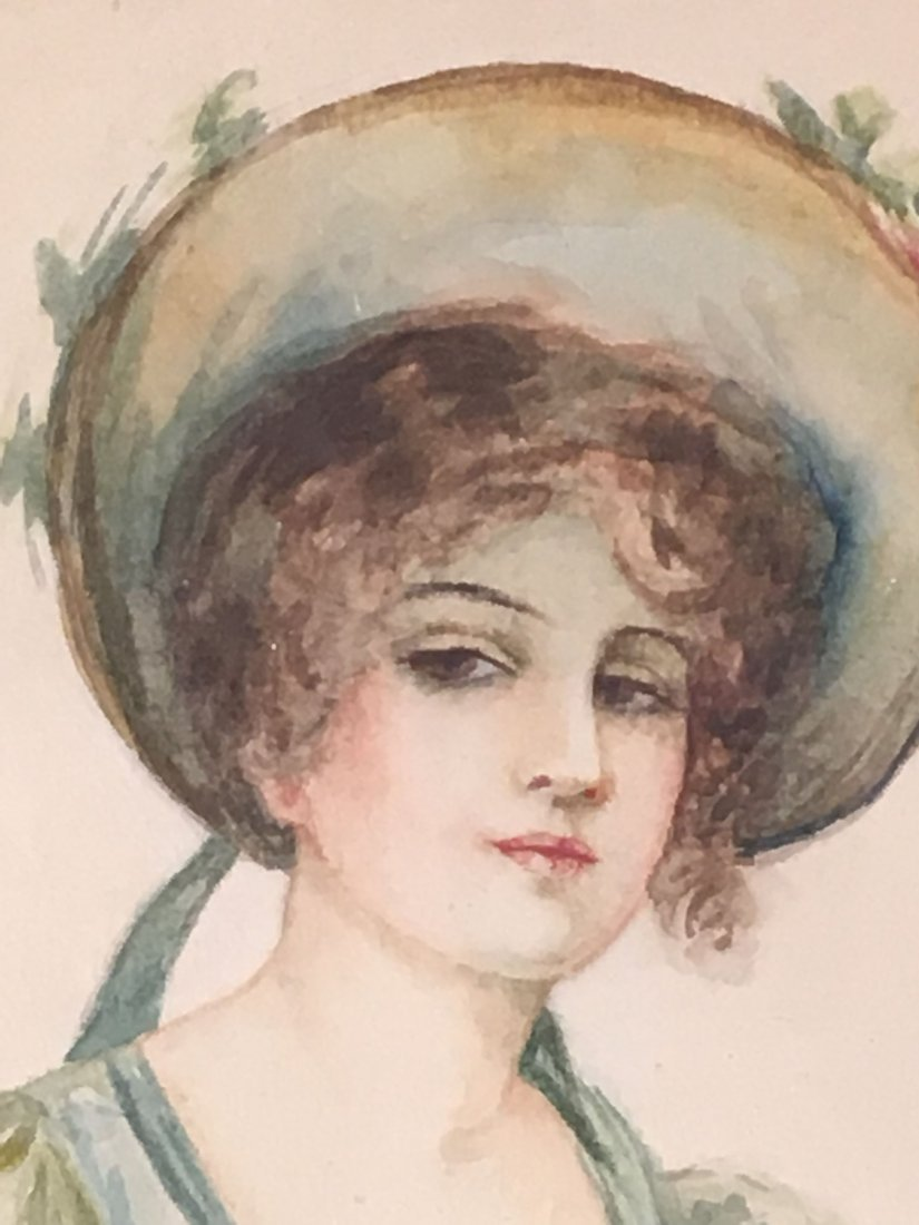 2 ANTIQUE  WATERCOLORS OF WOMEN, ONE AFTER GIBSON - 6