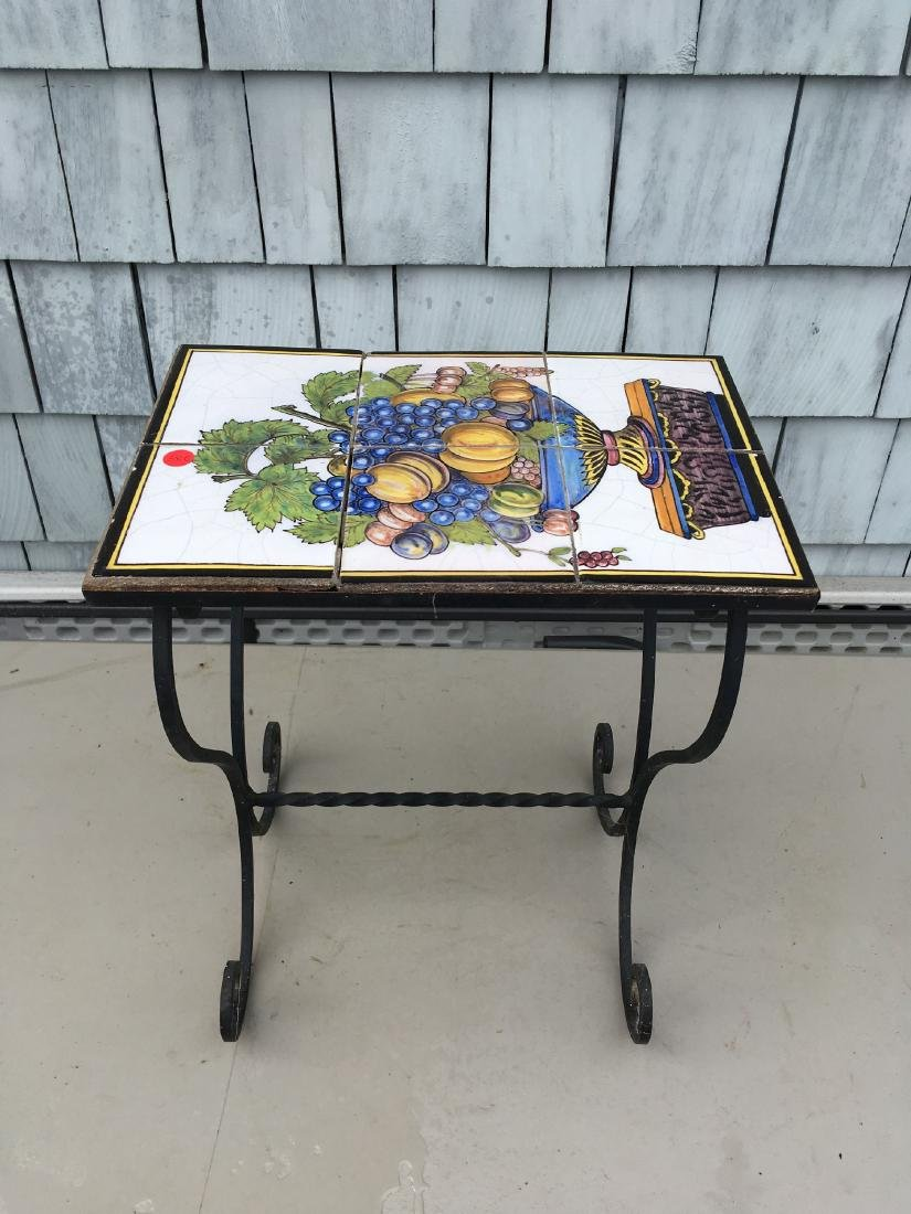 WROUGHT IRON STAND WITH ANTIQUE ITALIAN TILE TOP - 2