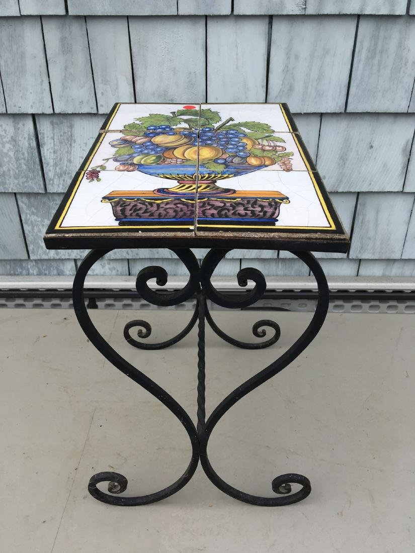 WROUGHT IRON STAND WITH ANTIQUE ITALIAN TILE TOP - 3
