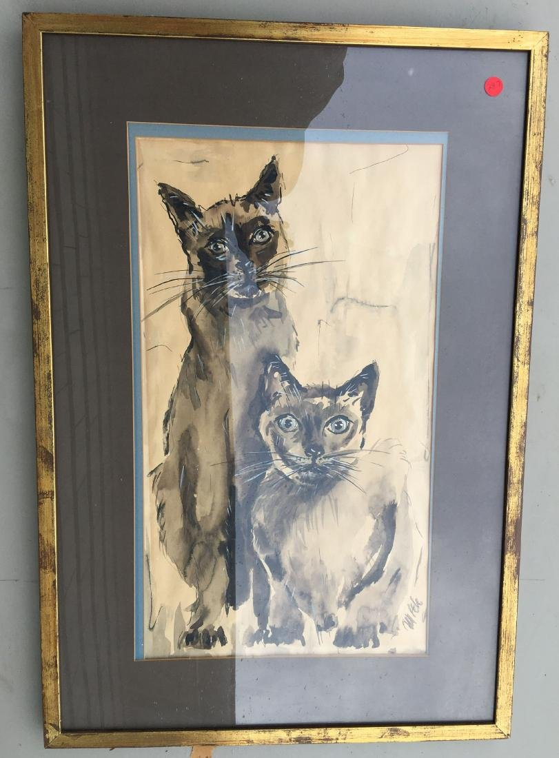 SIGNED WATERCOLOR PRINTING OF SIAMESE CATS