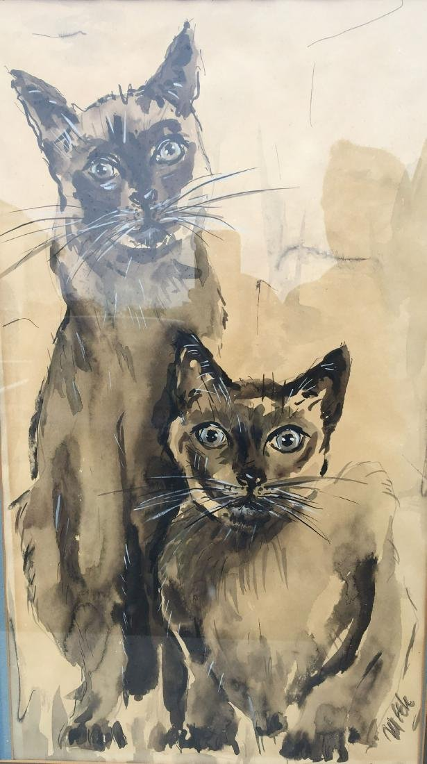 SIGNED WATERCOLOR PRINTING OF SIAMESE CATS - 2