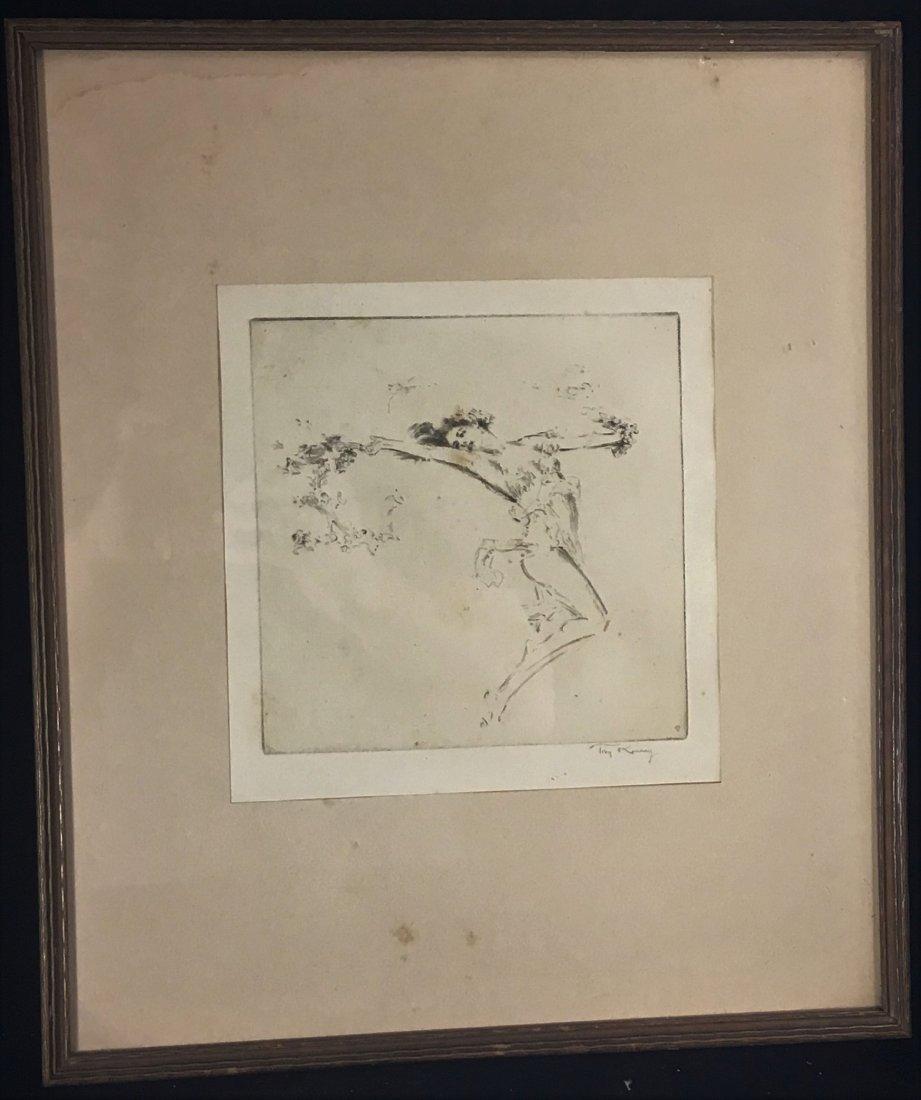 ART NOUVEAU PRINT OF A WOMAN SIGNED TROY KINNEY