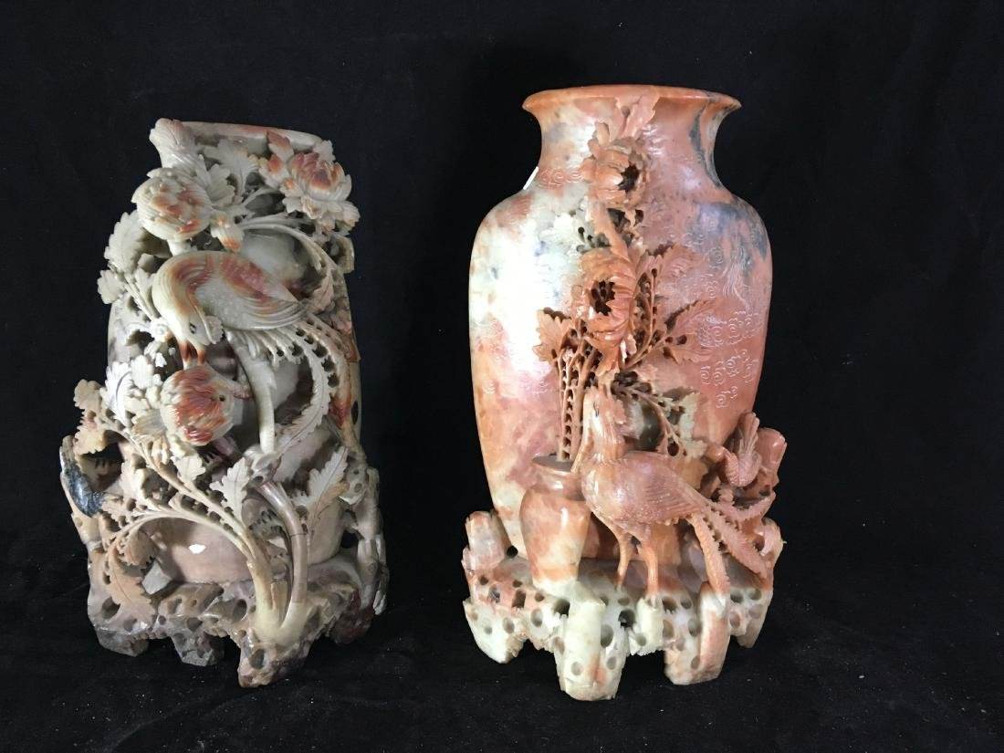 """2 LARGE 14"""" INTRICATELY CARVED CHINESE HARDSTONE VASES"""