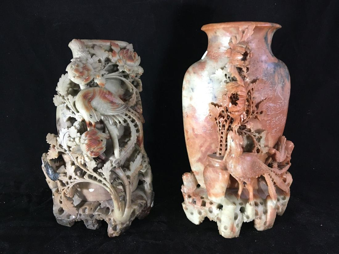 """2 LARGE 14"""" INTRICATELY CARVED CHINESE HARDSTONE VASES - 2"""