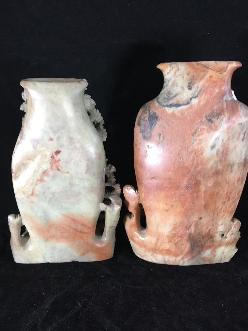 """2 LARGE 14"""" INTRICATELY CARVED CHINESE HARDSTONE VASES - 5"""