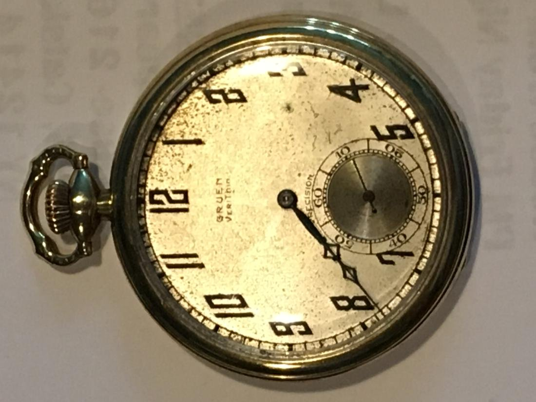 14K GOLD VERYTHIN GRUEN POCKETWATCH 57 G TOTAL