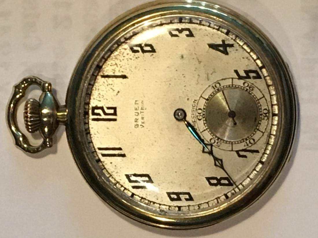 14K GOLD VERYTHIN GRUEN POCKETWATCH 57 G TOTAL - 3