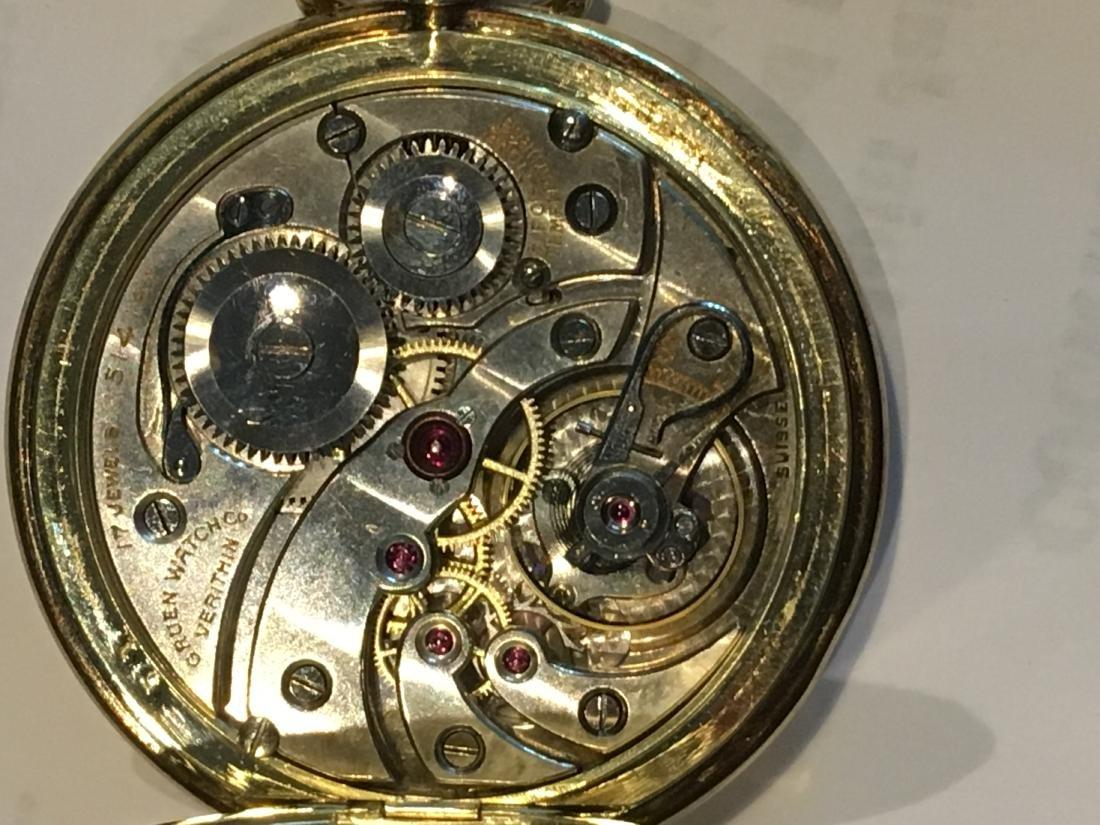 14K GOLD VERYTHIN GRUEN POCKETWATCH 57 G TOTAL - 7