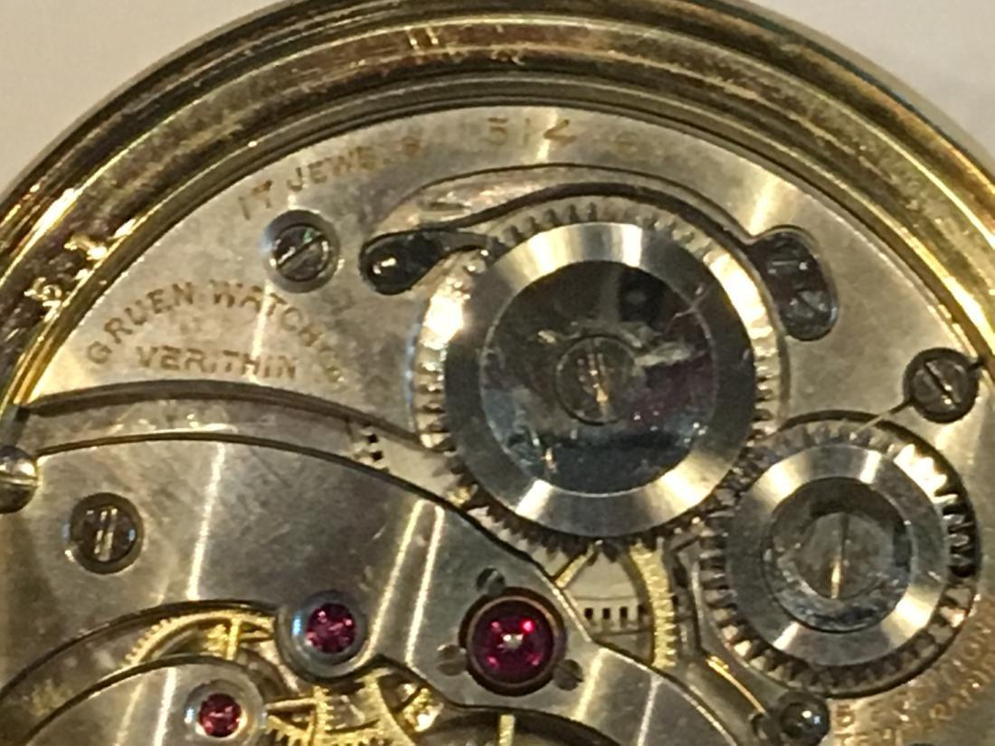 14K GOLD VERYTHIN GRUEN POCKETWATCH 57 G TOTAL - 8