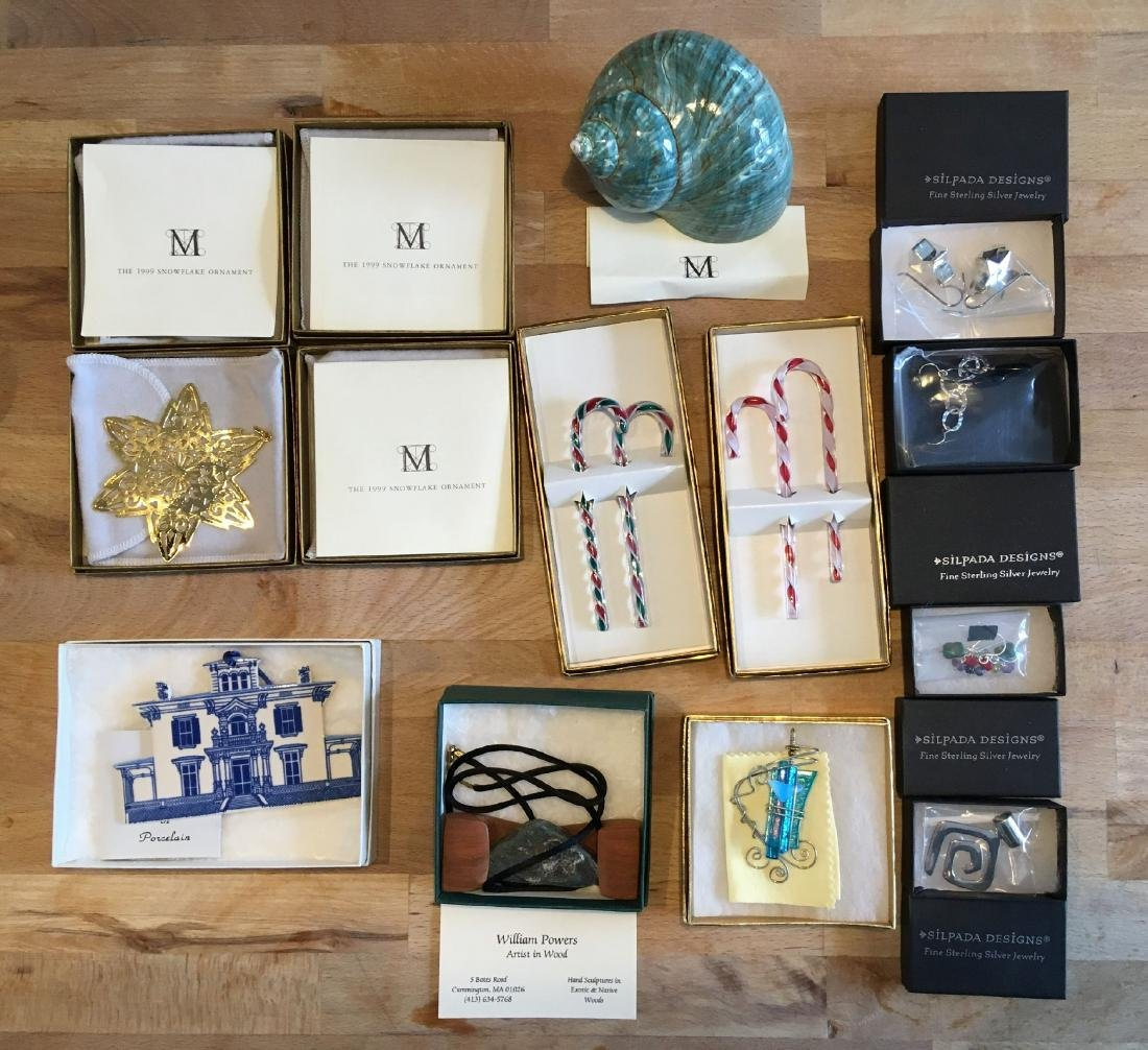 MIB  STERLING AND CRAFTED ORNAMENTS AND JEWELRY