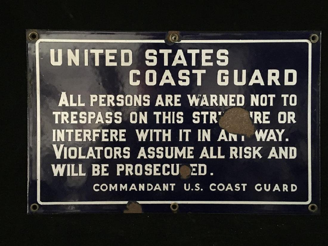 VINTAGE US COAST GUARD ENAMEL SIGN