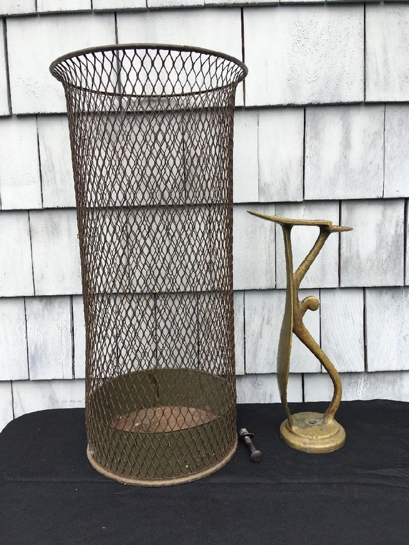 INDUSTRIAL WAIST BASKET AND ANTIQUE BRASS COBBLER FORM