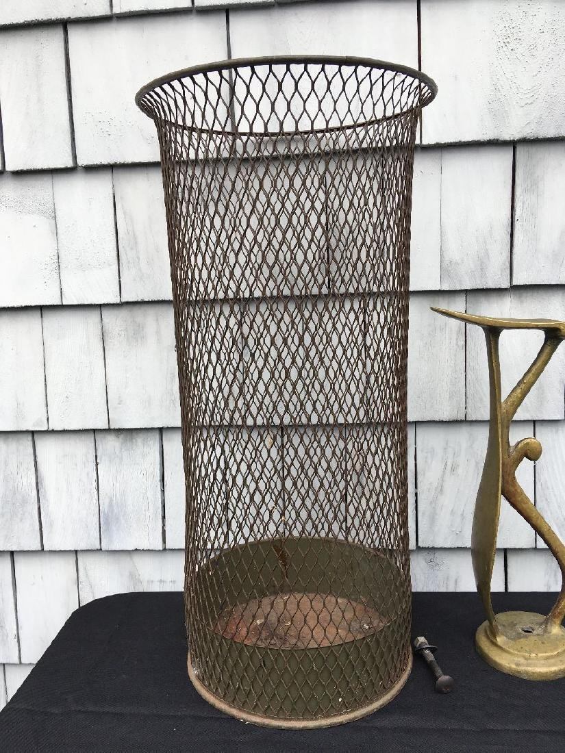 INDUSTRIAL WAIST BASKET AND ANTIQUE BRASS COBBLER FORM - 2