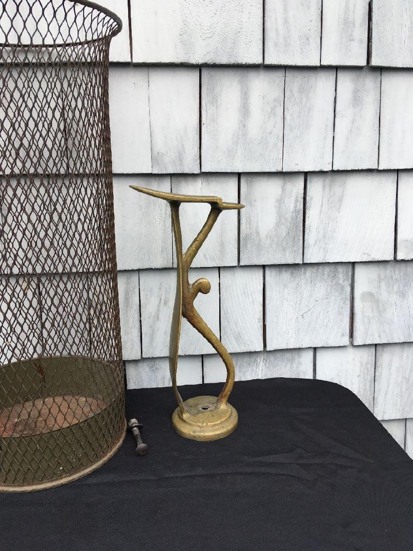 INDUSTRIAL WAIST BASKET AND ANTIQUE BRASS COBBLER FORM - 3