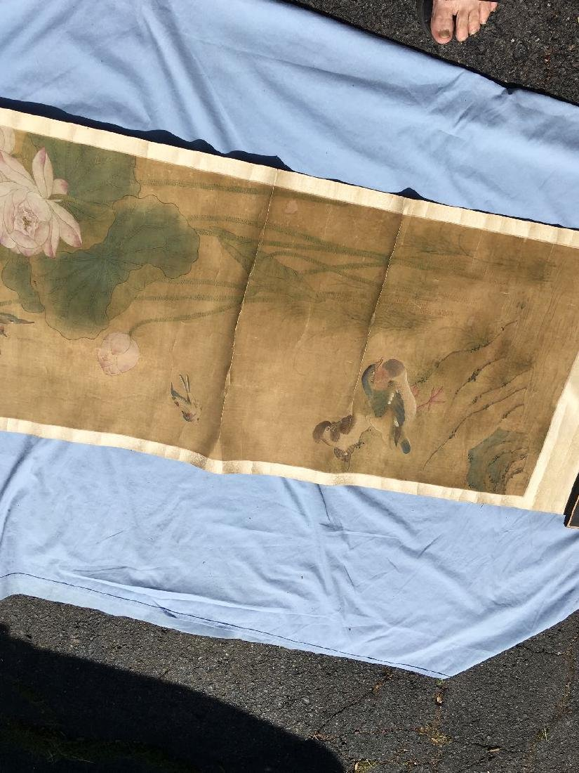 CHINESE SCROLL OF WATERCOLOR PAINTING 60'' X 22'', 56'' - 4