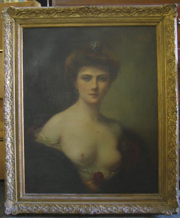 """616234: O/C PAINTING """"THE BLONDE BEAUTY""""  SIGNED HENRY"""