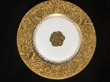 "2 OVINGTON BROS LIMOGES 9 3/4"" DINNER PLATES WITH"