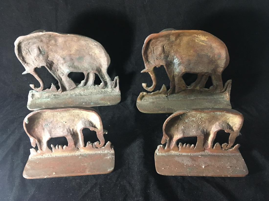 2 PAIRS OF HEAVY COPPER ELEPHANT BOOKENDS OR DOORSTOPS. - 3