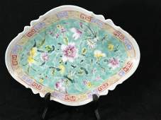 """CHINESE FAMILLE ROSE FOOTED DISH 11.75"""" x 9"""" x 2"""""""