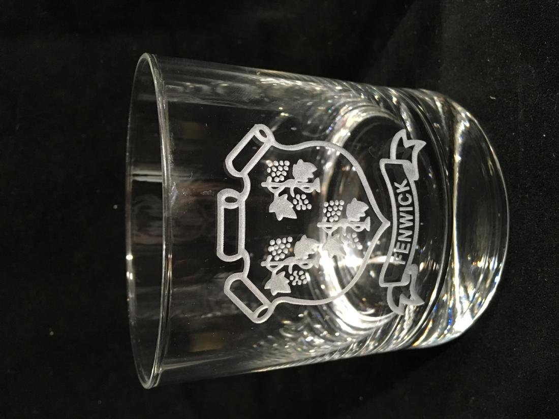 STEUBEN GLASS ETCHED  ROCKS GLASSES FOR THE FENWICK - 2