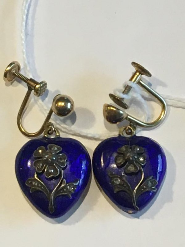 PAIR OF 14K GOLD AND BLUE ENAMEL VICTORIAN HEART SHAPED