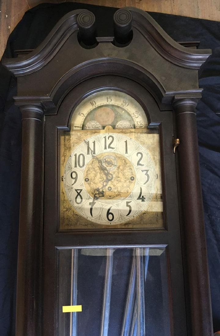 BLACK FOREST TALL CASE CLOCK WITH MOON DIAL FACE - 9