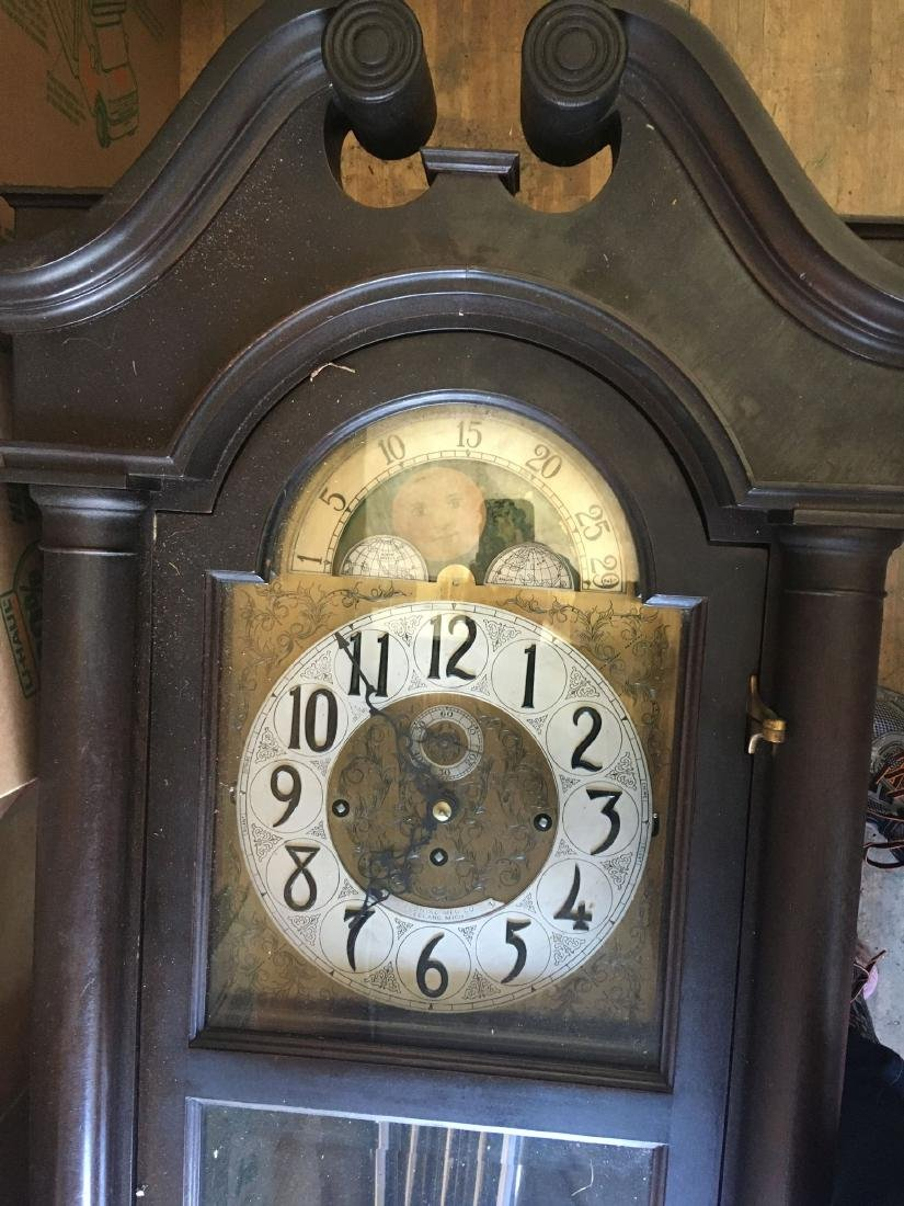 BLACK FOREST TALL CASE CLOCK WITH MOON DIAL FACE - 2
